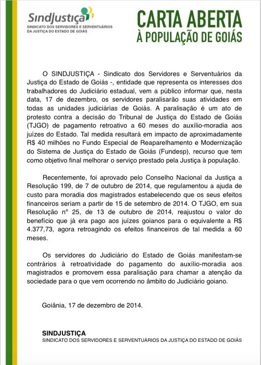 837afb84e3665 SINDJUSTIÇA publica carta aberta à população de Goiás sobre ...