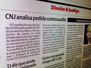 Jornal repercute intimação ao TJGO para esclarecer, ante o CNJ, pagamento retroativo do auxílio-moradia para juízes