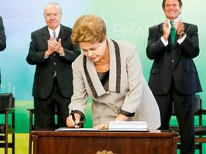 Em cerimônia, presidente não falou sobre as sanções ao novo código. Foto: Roberto Stuckert Filho/PR