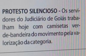 Manifestação repercutiu no jornal O Popular, na edição desta quarta, 8