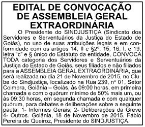 Edital de convocação foi publicado na edição desta quinta, 17, em O Popular