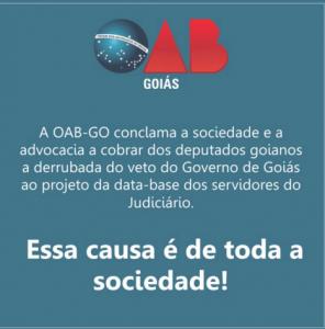 Campanha da OAB-GO pela derrubada do veto à data-base