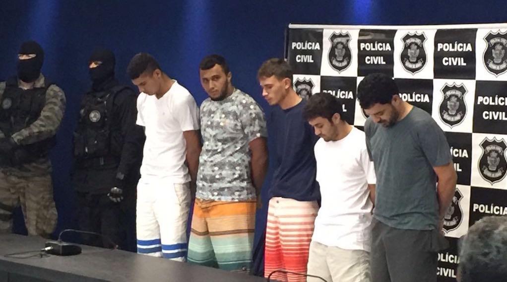 apresentacao-suspeitos-incendio-goiatuba-policia-civil