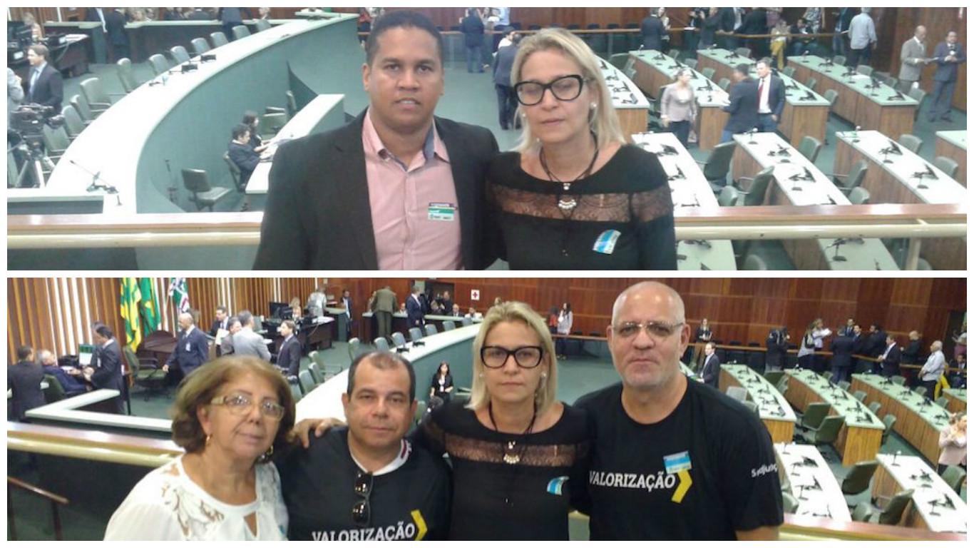Mara Cristina e Eduardo Faria (acima) representaram a diretoria do SINDJUSTIÇA na Alego; e ainda: sindicato recebe apoio presencial de servidores de Goiânia e da cidade de Goiás