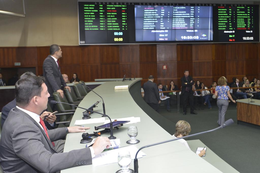 Painel eletrônico da Alego mostra o resultado da votação do veto à data-base. Foto: Denise Xavier